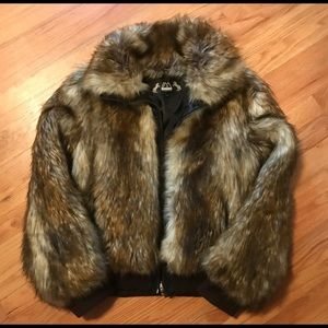 IMPOSTER Faux Fur Zip Front Jacket, Raccoon sz SM